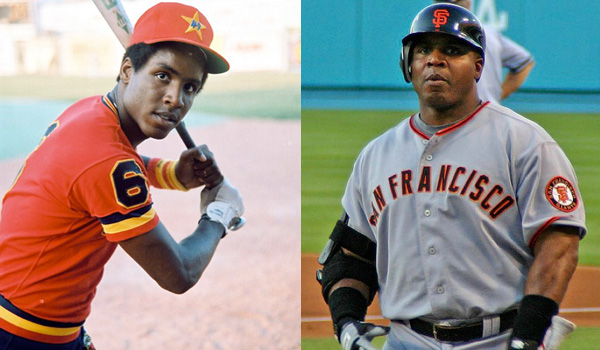 Barry Bonds is pictured as a young baseball player, and later in his career.